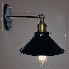 BAYCHEER HL370838 Industrial Retro Style Edison Wall Sconces Elegantly Aged Single Finished Wall Light Wall Lamp 1 Light, Black - - Amazon.com $32.xx