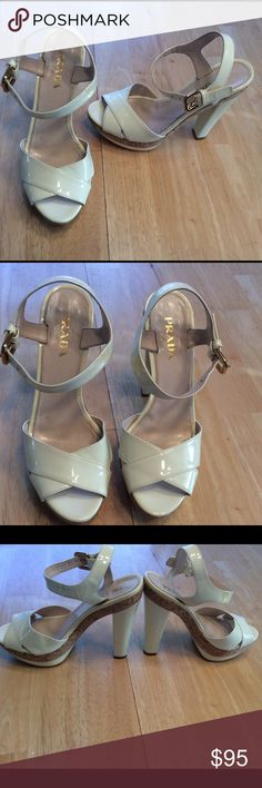 PRADA White Heel Wedges Size 36 1/2 / 6 1/2 BEAUTIFUL SHOES! Some discoloration on the strap but you can hardly see it. Also has dent in the back of right shoe as seen in the photos. Overall in good condition. Open to reasonable offers!!!! Prada Shoes Heels