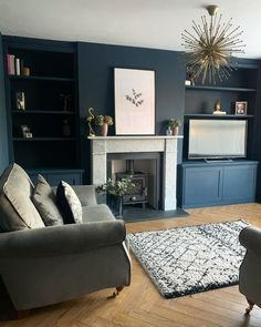 Navy Blue Living Room, Living Room Grey, Home Living Room, Living Room Color Schemes, Living Room Designs, Alcove Ideas Living Room, Victorian Living Room, 1930s Living Room, Snug Room
