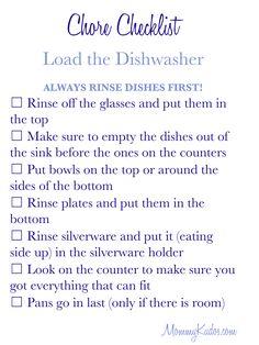 Mommy Kudos Chore Checklist- loading the dishwasher