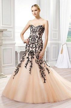 mermaid wedding dress accented with embroidered lace appliques over soft peach color tulle / http://www.himisspuff.com/black-wedding-dresses/6/