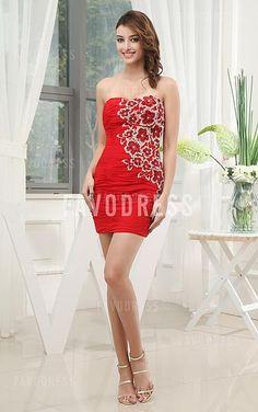 Favodresses.com is a professional women's dresses online shop,where you can find your favourite Appliques Flowers Diamond Sheath Short Red Dress.