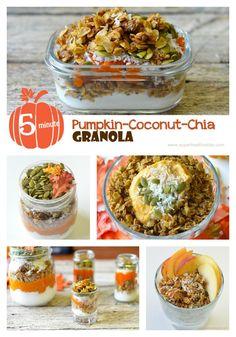 5 Minute pumpkin Chia coconut granola! #nutfree #glutenfree #healthybreakfast  #kidsfood