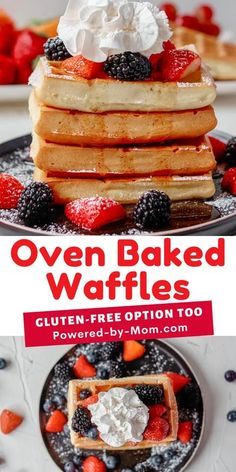 This oven-baked waffles recipe is easy to make gluten-free and ideal for weekday or weekend breakfast! Add your favorite toppings whether they are sweet (our favorite) or savory & enjoy. #waffles #breakfast #bakedwaffles #ovenbakedwaffles #recipe #recipes #glutenfree Breakfast Waffles, Savory Breakfast, Pancakes And Waffles, Make Ahead Breakfast Casserole, Homemade Breakfast, Best Breakfast, Breakfast Recipes, Waffle Recipes