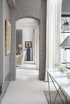 brick Style At Home, Deco Cool, Grey Brick, Faux Brick, Interior Minimalista, Exposed Brick Walls, Whitewashed Brick, Interior Decorating, Interior Design