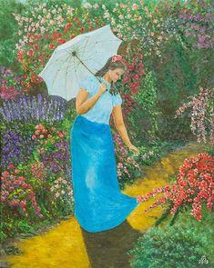 Walk in the rose Garden cm, oil, str. Hungary, Oil, Canvas, Garden, Painting, Tela, Garten, Painting Art, Canvases