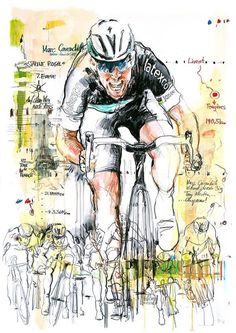 Mark Cavendish by Horst Brozy Cycling Art, Road Cycling, Cycling Bikes, Road Bike, Cycling Quotes, Cycling Jerseys, Bicycle Illustration, Graphic Design Illustration, Mark Cavendish