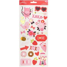 "American Crafts My Funny Valentine Stickers 6""X12"" 2/Pkg-Icons & Accents"