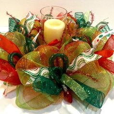 "Beautiful Christmas 16"" round red/green deco mesh candle ring centerpiece with faux, glittered Christmas ornaments"