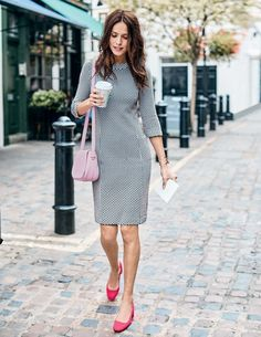 Sarah Jacquard Dress Smart Day Dresses at Boden Business Casual Outfits, Stylish Outfits, Work Fashion, Daily Fashion, Latest Fashion Dresses, Fashion Outfits, Smart Day Dresses, Structured Dress, Sixties Fashion