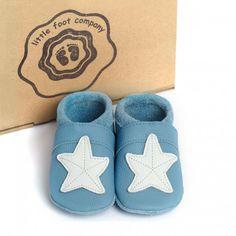 little foot company baby slofjes zeester blauw  handgenaaide kruipschoenen van nappa leer www.emmaswereld.nl