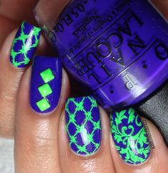 STRIKING Stamping Nail Art using Mundo de Unas Polish over OPI: ☆ sed Do You Have This Color In Stock-Holm? ☆ ... a beautiful purple/blue creme nail polish from the Nordic collection and neon green studs