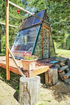 Schrebergarten A-frame cabin with raised platform foundation Youth Sports Schedules: Alerts Keep Par Tiny Cabins, Tiny House Cabin, Tiny House Living, A Frame Cabin, A Frame House, Pergola, Casas Containers, Cabins In The Woods, Play Houses
