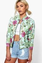boohoo Lacey Floral Jersey Bomber