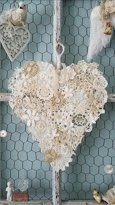 Crochet Doily Heart Doily using all those little crochet squares you have lying around.