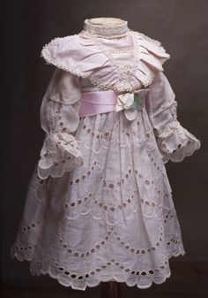 Antique Original Silk Open work with embroidery Dress for Jumeau Bru Steiner Eden bebe doll about 25-26""