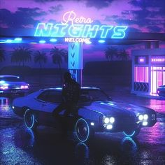 Retro nights car futuristic design neon lights new retro wave synthwave photo picture Cyberpunk Aesthetic, Neon Aesthetic, Night Aesthetic, Cyberpunk Art, Violet Aesthetic, Vaporwave Wallpaper, Retro Futuristic, Futuristic Design, Cover Art