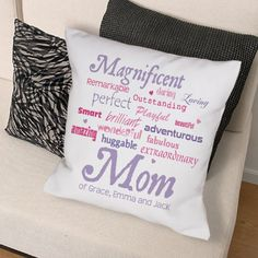 Personalized Magnificent Mom Throw Pillow - Gifts Happen Here