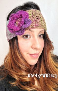 a78a655069d Crochet Headband Noro Purple Pink and Grey Mix by KnotSewKrazy