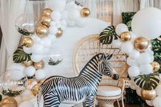 Safari Balloon Garland Backdrop from a Wild ONE First Birthday Party on Kara's Party Ideas | KarasPartyIdeas.com