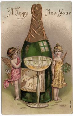 New Year Postcard Cherub Angels with Giant Bottle of Champagne and Glass~107508…