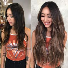 Before After Hair, Hair Extensions Before And After, Dark To Light Hair, Dark Brunette Balayage Hair, Brown Hair Extensions, Long Brown Hair, Brown Hair Olive Skin, Facon, Hair Highlights