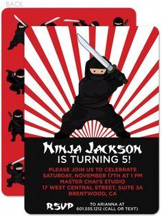 Ninja Birthday Invitation printable party by SwishPrintables ...