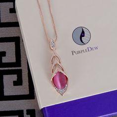 Metal Braid Drop Pink Pendant Necklace – Purple Dew