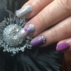 @prohesion extensions with Hand & Nail Harmony from NailHarmonyUK/Gelish with glitter from The Nail Space and stamping from All That Jazz UK