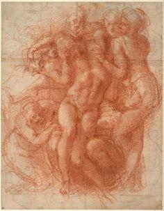 Michelangelo Buonarroti - Lamentation (recto), c. 1530. Red chalk, partly over a preliminary drawing in black chalk.   Albertina