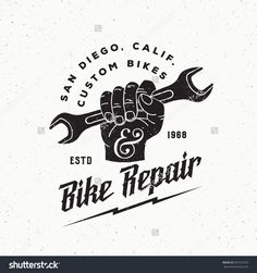 Vintage Labels Bike Repair Abstract Vintage Vector Sign, Label or Logo Template. Fist Holding Wrench with Retro Typography and Shabby Textures. Vintage Labels, Vintage Signs, Vintage Stuff, Retro Vintage, Handyman Logo, San Diego, Lightning Logo, Shop Logo, Vintage Bicycles