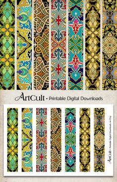 Printable 1x6 inch size images ART STRIPS No7. for bracelets cuffs, bookmarks, magnets, scrapbooking paper Digital Collage Sheet ArtCult