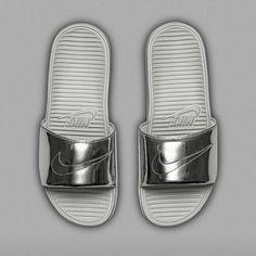 af8d0aead855f nike benassi solarsoft slide silver 01 Nike Benassi Solarsoft Slide Liquid  Metal Pack Release Date