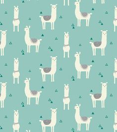 Snuggle Flannel Fabric-Tossed Llama Teal