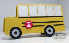 "School bus card for ""back to school"" made from Stampin Up products."