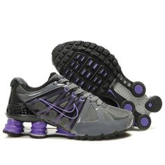 Nike Shox Agent+ Grey Black Purple Women Shoes $79.59