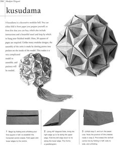 (How to make a Kusadama star ball Estilo Origami & Cia: Diagrama Star Sea) I think I may have to make another one of these.lost my old one when I moved out of student housing Diy Origami, Origami Mouse, Origami Yoda, Origami And Kirigami, Origami Ball, Origami Dragon, Origami Fish, Paper Crafts Origami, Useful Origami