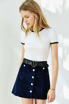 Love the skirt:Corner Shop Cartwheel Ringer Tee - Urban Outfitters Look Fashion, 90s Fashion, Fashion Outfits, Womens Fashion, Fashion News, Looks Style, Looks Cool, Casual Outfits, Cute Outfits