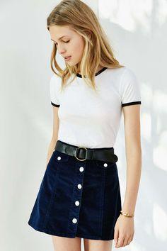 Corner Shop Cartwheel Ringer Tee - Urban Outfitters- I love her skirt too!