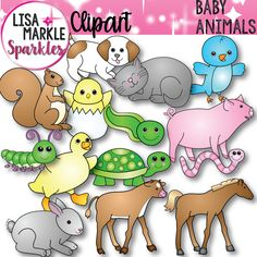 Enjoy this set of fourteen adorable baby animals just in time for spring! Great for adorable product covers, emergent readers, matching games, and learning baby animal names! The set includes a chick, duckling, foal, tadpole, kitten, puppy, piglet, baby bird, bunny, calf, baby worm, baby turtle, baby squirrel, and a caterpillar. Black line versions are also included! All graphics are 300 DPI PNG files with transparent backgrounds!