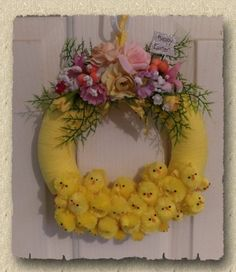 Easter Chicks Wall Wreath / Door Wreath / di PicketFenceCountry