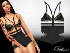 The Sims Resource: In Flames Bodysuit by Saliwa • Sims 4 Downloads