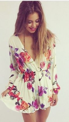 Boho Floral Light Weight Playsuit. #play #suit #boho