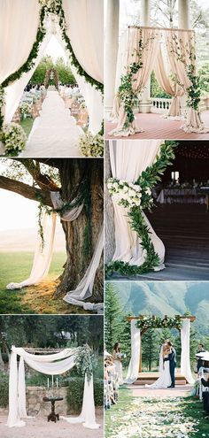 elegant greenery wedding ceremony arches for outdoor wedding ideas elegante grüne Hochzeit Zeremonie Wedding Ceremony Arch, Wedding Ceremony Decorations, Outdoor Ceremony, Wedding Venues, Ceremony Backdrop, Outdoor Weddings, Party Outdoor, Decor Wedding, Wedding Centerpieces