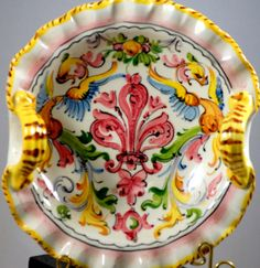 Italian Art Pottery Basket With Fleur De Lis #Handmade #Mediterranean