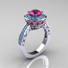 Classic 14K White Gold 1.0 Carat Pink Sapphire Blue Topaz Wedding Ring, Engagement Ring