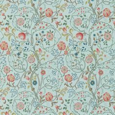 A wonderful design from the Morris & Co collection in blue and pink. 'Mary Isobel' shows scrolling acanthus leaves and flowers. From the new William Morris Archive III collection, buy online today. Print Wallpaper, Home Wallpaper, Fabric Wallpaper, Wallpaper Roll, Liberty Wallpaper, William Morris Wallpaper, Morris Wallpapers, Painted Rug, Groomsmen