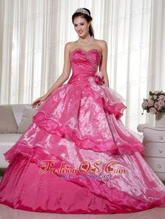 Hot Pink Ball Gown Sweetheart Floor-length Taffeta and Organza Beading and Hand Made Flower Quinceanera Dress Sweet Sixteen Dresses, Sweet 16 Dresses, Sweet Dress, Elegant Dresses, Pretty Dresses, 15 Birthday Dresses, Dresser, Pretty Quinceanera Dresses, White Ball Gowns