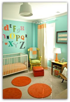 aqua/lime green/orange nursery  Would love to have done my boys rooms like this when they were babies