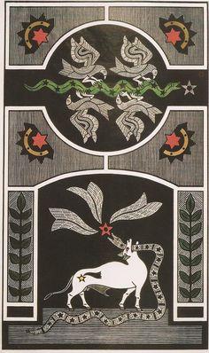 """Samico, O devorador de estrelas (1999), xilogravura 93,7x55 cm. Reprodução fotográfica do catálogo da exposição """"Samico: do desenho à gravura"""", Pinacoteca do Estado de São Paulo, 2004."""